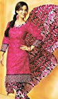 Dazzling Pink Printed Cotton Unstitched Dress Material