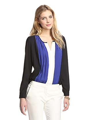 Tracy M Women's Pleat Front Top (Blue Combo)