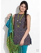 Ajrakh Print Short Kurta-Blue-