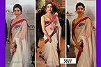 deepika padukone net white saree - Bollywood Sarees by Lime
