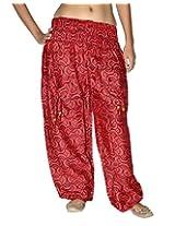 Famacart Women Pocket Printed Harem Pant Free Size Red summer trouser