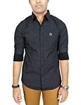 AA' Southbay Men's Black 100% Cotton Printed Long Sleeve Casual Shirt