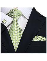Landisun Plaids Checks Mens Silk Tie Set: Necktie+Hanky+Cufflinks 341 Bright Green, 3.75