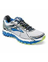 Brooks Men's Adrenaline Gts 15 Running Shoe White / Olympic / Lime Punch and Sock Bundle 10 / 4E