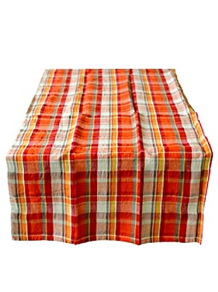 Couleur Nature Laundered Linen Madras Runner, Plaid