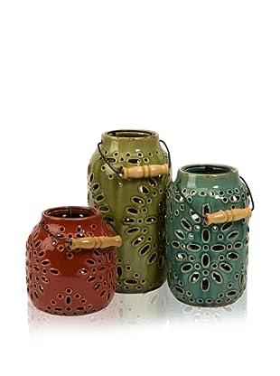 Set of 3 Ceramic Luna Lanterns