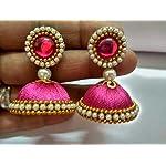 Pink Non-Precious Metal Base Metal Pearl Fashion Jhumki Earring