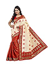 Indian Off White Red Wedding Saree Zari Booti Work Chanderi Silk Sari