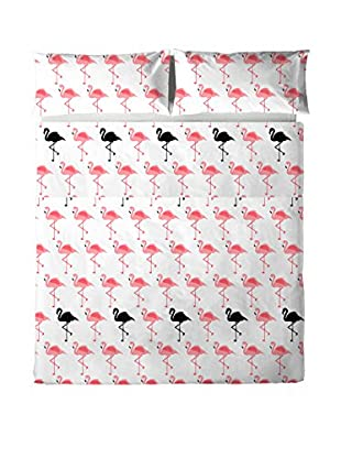Hipster Betttuch und Kissenbezug Flamingo