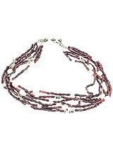925-Silver Garnet,Pearl Princess Gemstone Necklace For Women 11604