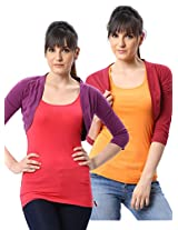 ESPRESSO WOMEN PACK OF 2 SHRUGS -PURPLE / RED-XL
