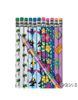 24 Wooden Tropical Luau Pencils in Assorted Styles~Student Incentives~Favors