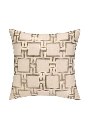 Peking Handicraft Dotted Line Pillow, Greige