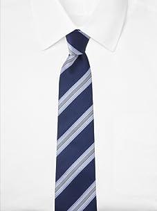 Aquascutum Men's Wide Stripe Silk Tie (Navy/Light Blue)