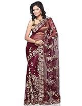 Utsav Fashion Net Saree With Blouse Piece (Syg94 -Magenta)