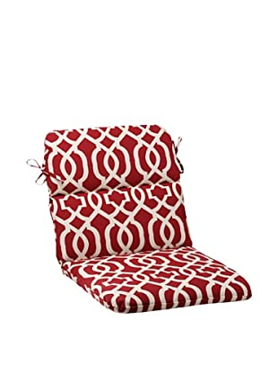 Pillow Perfect Outdoor New Geo Rounded Corner Chair Cushion, Red