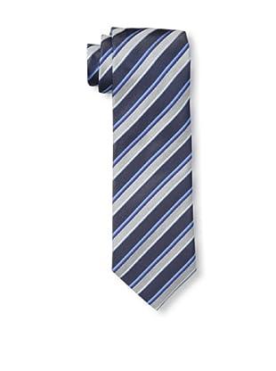 Rossovivo Men's Striped Tie, Gray/Blue