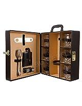 Bar accessories   Mega Bar Set   Portable Leatherette Briefcase Bar Set   Bar Set For Travel (8, Brown)