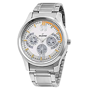 Dezine Silver Metal Analog Men Watch DZ GR801 WHT CH