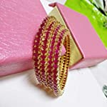 AD stones bangles with ruby
