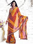 Kalazone Red,Yellow Georgette Embroidery,Bandhej Saree