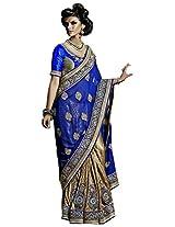 Blue Beige Wedding Wear Saree Stone Embroidery Patch Work Georgette Sari