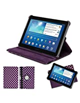 GMYLE PU Leather Folio Stand Case Cover For Tablet Galaxy Tab 1/2 10.1 - Purple/White Polka Dot