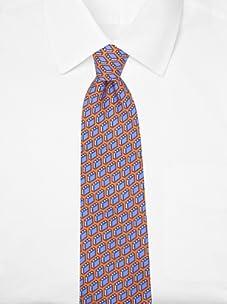 Hermès Men's Briefcase Tie (Orange/Blue)
