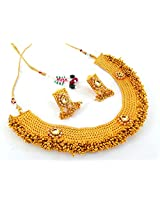Indian Attire Women South Indian One Gram Gold Plated Necklace Set