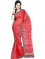 Parchayee Women's Net Brasso Saree (94395A, Maroon, Free Size)