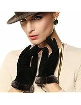 Warmen Lady Geniune Pigskin Suede Leather Winter Warm Gloves Long Fleece Lining (XL, Black)