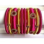 Silk Thread Bangles (Set of 10) - Pink & Gold