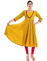 Naksh Jaipur cotton yellow printed anarkali kurta