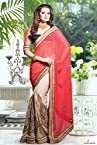 Georgette Saree In Beige and Red Colour 13010-B