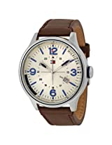Tommy Hilfiger Beige Dial Brown Leather Men's Watch - Tomw1791102