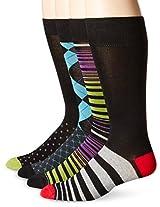 Papi Men's 4 Pack Stripe and Argyle Crew Sock, Purple/Fuchsia, 10-13/Shoe Size 6-12