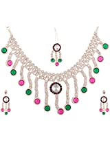 Lucky Jewellery Rose Rani Green Alloy Chain Patwa Set for Women (660-ISP-415-RG)