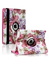 SAVEICON (TM) Leopard Rose Flower Map Pattern 360 Degrees Swivel Rotating PU Leather Case Smart Cover with Stand and Sleep/Wake Function for Apple iPad 4 with Retina Display, iPad 3, iPad 2 (iPad 4/iPad 3/iPad 2, Pattern A)