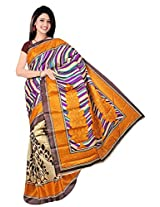 Bhagalpuri Silk Printed Beige Bhagalpuri Silk Saree - SIXVP04B