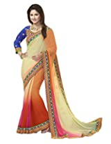 Kvsfab Heena Khan Multicolor Georgette Party Wear Saree