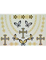 Spestyle Waterproof Tattoos Jewelry Chain, Cross And Flowers Silver And Golden Glitter Temporary Tattoo Stickers