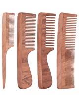 TULIR Neem Wood Comb, Combo of 4 (7 - 7.5 - 9 Inches)