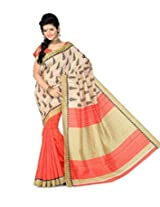 India Ethnic Store Women's Bhagalpuri Silk Saree with Blouse Piece (VF-SSC-CHRISTMAS_Beige)