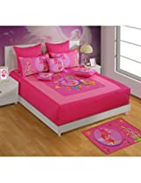 Kids Pink Digital Print Double Bed Sheet With Two Pillow Covers from Swayam