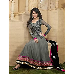 Sonal Chauhan Grey Georgette, Silk Santoon with Zari, Lace, Border, Hand work, Resham Work Unstitched Anarkali Salwar Kameez Suit