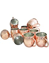 DakshCraft ® Solid Hammered Moscow Mule, Outside Copper- Inside Nickle Lining - Pure Copper Hammered Cocktail Mugs, Set of 12 (Capacity 490 ml per mug )