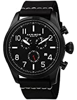 Akribos XXIV Men's AK705BK Ultimate Swiss Chronograph Black Leather Strap Watch