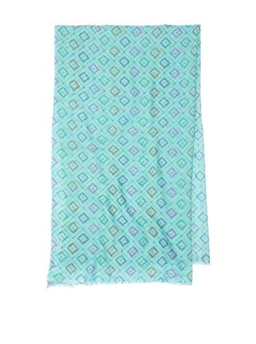 Lulla by Bindya Women's Tiles Wool-Blend Scarf, Turquoise