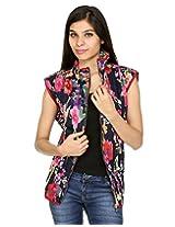 Rajrang Womens Cotton Jacket -Blue, Red, White -Small