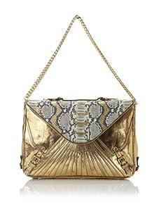 Rebecca Minkoff Women's Cali Envelope Shoulder Bag, Gold/Exotic Python